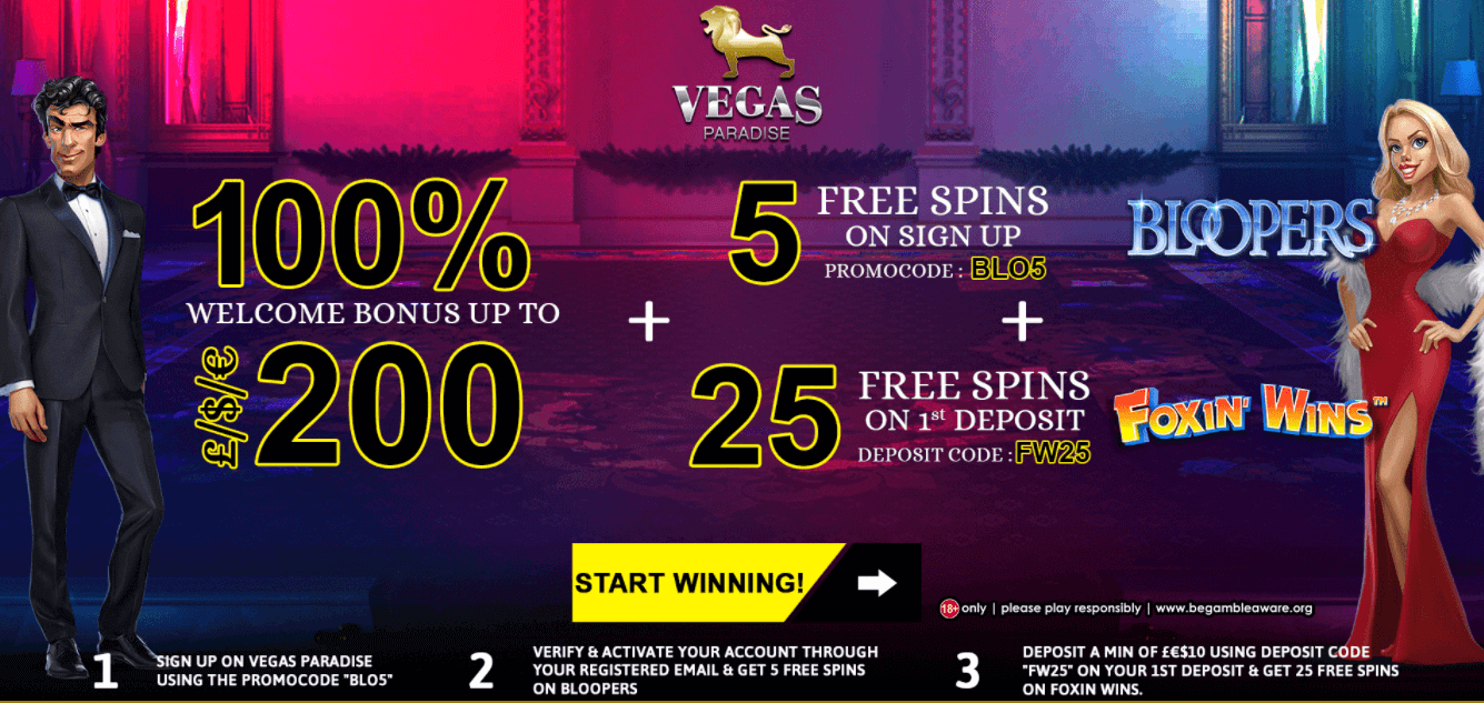 Vegas Paradise free spins offer