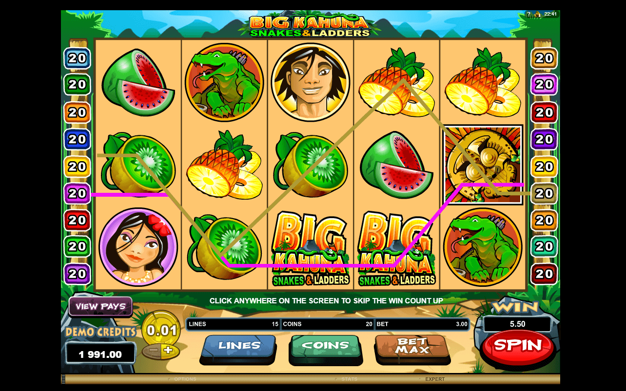 Feb 21, · Big Kahuna Snakes and Ladders is a jungle-themed payline video slot, powered by the well-known Microgaming game has 5 orange reels that are set against the jungle backdrop.There are many cartoon symbols, including a monkey, a lizard, and pieces of seasonal fruit/10(5).