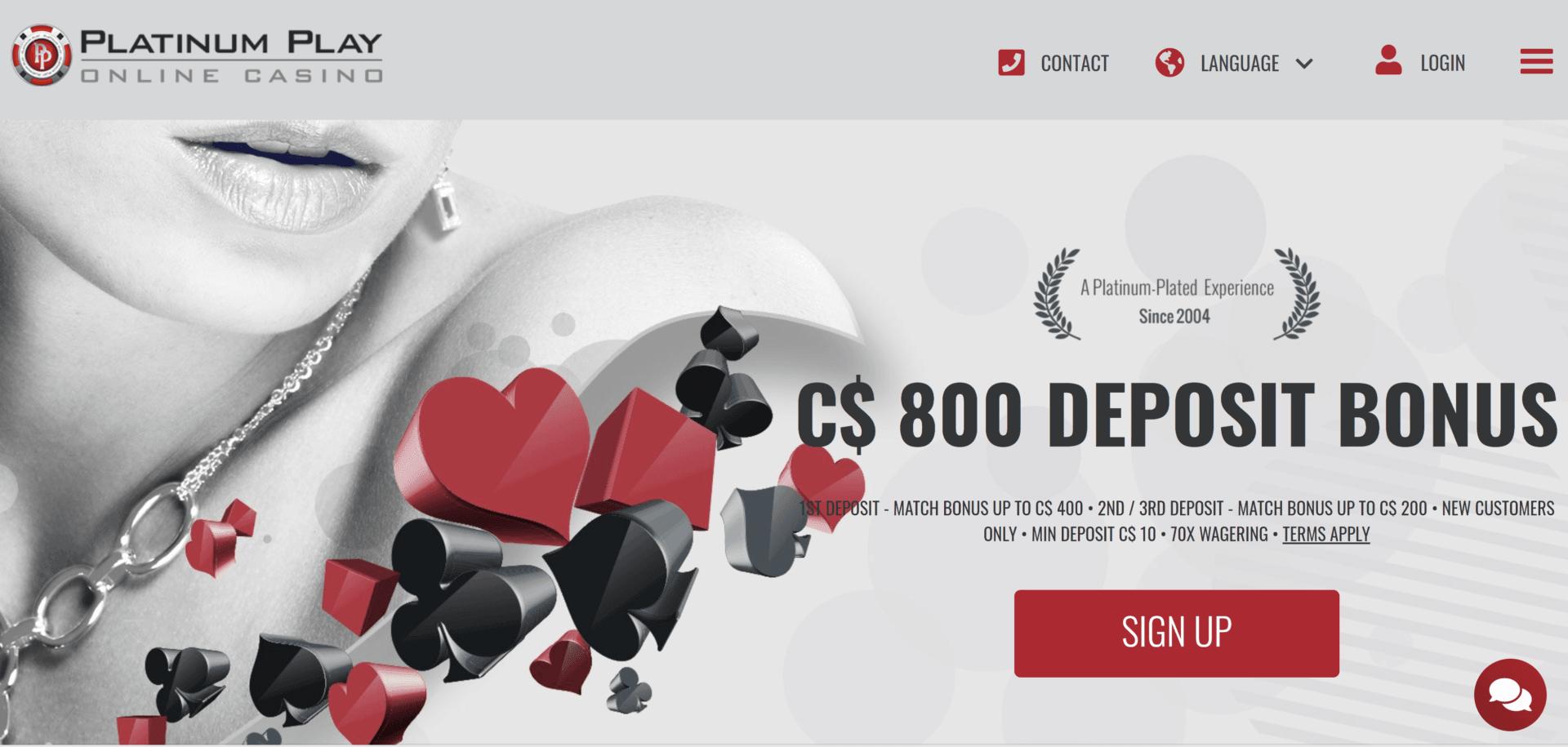 Platinum Play Casino Bonus Code